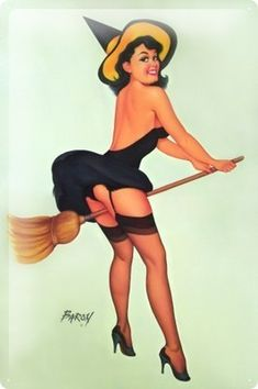 Witch Pin Up by the Baron Jerry von Lind Halloween Pin Up, Vintage Halloween, Vintage Witch, Halloween Tattoo, Halloween Images, Halloween Town, Dita Von Teese, Pin Up Girls, Comic Art