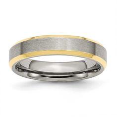 Chisel Beveled Edge 5mm Brushed & Polished Gold-plated Band, Men's