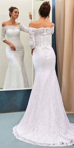 Attractive Lace Off-the-shoulder Neckline Mermaid Wedding Dress