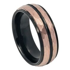 Please Take A Moment To Visit Our Store For More Beautiful Jewelry!    MSRP: $299.99  Our Price: $89.99  Savings: $170.00      Item Number: TR751  Availability: Usually Ships in 5 Business Days      PRODUCT DESCRIPTION:    Crafted in durable Tungsten Carbide, this handsome wedding band for him offers a two tone black and rose gold finish with a Black Grooved Center, Step-Down Edge design with a Hammered Finish.      FEATURES:    Crafted in Durable Tungsten Carbide  Scratch Resistent  Black…