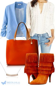 Fresh fall colors: blue skies & orange leaves. Blazer, tote (Tommy Hilfiger), fringed boots (Schutz), embroidered blouse (Rebecca Taylor), jeans.