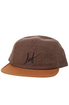 The HUF Cap Script Flannel Volley in Brown