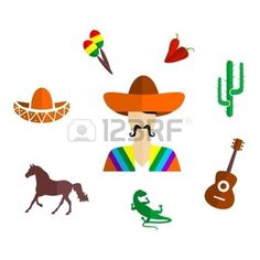 disegni maya: set of icons in the style of a flat design on the theme of mexico. Vettoriali