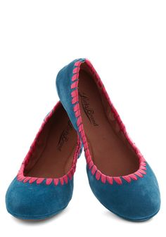 Bound to Blossom Flat by Lucky - Blue, Pink, Flat, Leather, Suede, Trim