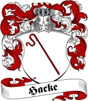 Hacke Coat of Arms - Visit our website at www.4crests.com for lots of great products featuring this family coat of arms.  We carry glassware, rings, plaques, flags, prints, jewelry and hundreds of other Crest products. #coatofarms #familycrest #familycrests #coatsofarms #heraldry #family #crest #genealogy #familyreunion #names #history #medieval #german #familyshield #shield #crest #clan #badge #tattoo #jewelry #crafts #scrapbooking #scrapbook #gift #germany