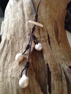 Baroque Freshwater Pearl and Leather Necklace on Etsy, $95.47