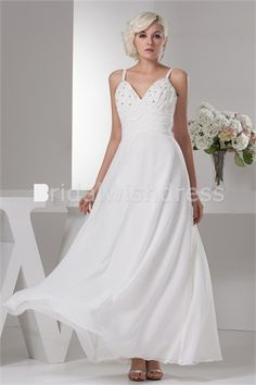 Sleeveless Chiffon Silk-like Satin Corset-back Best Wedding Dresses 001
