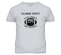 Fillmore County Faith Family Football Distressed Look T Shirt