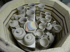 Loaded bisque kiln with goblets