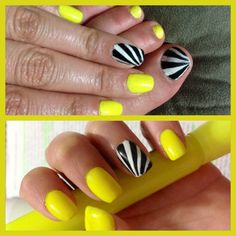Summer toe nails. Neon yellow nails. Matching mani & pedi (:
