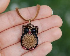 Miniature Owl Necklace, Woodland animal totem jewelry, Tiny forest bird pendant, Ethnic fiber soutache embroidery, Black brown beige flower