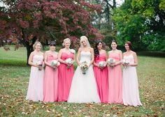 long pink ombre bridesmaid dresses  This would be so cool in purples instead of pinks!