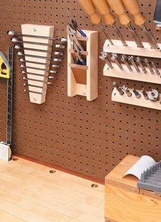 Custom Pegboard Tool Holders – Woodsmith Tips: – workshop Workshop Storage, Workshop Organization, Shed Storage, Garage Organization, Tool Storage, Garage Storage, Storage Ideas, Organization Ideas, Pegboard Storage