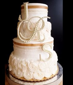 Ivory Pearl Wedding Cake Topper 3 Letter Monogram Set - First and Last name Initials Antique pearl wedding cake topper.