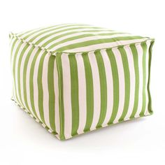 Fresh American | Fresh American Trimaran Stripe Sprout/Ivory Indoor/Outdoor Pouf | Our poufs are made of durable polypropylene and filled with polystyrene beads, making them perfect for the porch or patio, kids' rooms, even the boat!