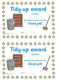 Twinkl Resources >> Tidy Up Award Certificate >> Classroom printables for Pre-School, Kindergarten, Preschool Classroom, In Kindergarten, Preschool Activities, Classroom Organisation Primary, Classroom Management Primary, Classroom Ideas, Classroom Rewards, Preschool Certificates, Award Certificates