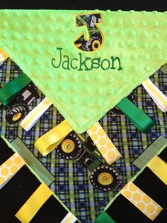 John Deere Baby Tag Security Blanket by Tanniesplace on Etsy