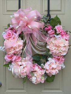 Pink Hydrangea and Roses Wreath - Spring - Pink Flower Wreath - Valentine Wreath - Romantic Wreath - Grapevine Wreath - Wedding Wreath by HoustonCustomWreaths on Etsy