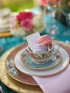 I do think you should have vintage crockery to give that tea feel.  I love these china teacups and macaroons could be used as favours?