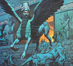 Angus McBride_The Lamassu from Finding Out Magazine's 'Legendary Beasts' series back covers mid 60's