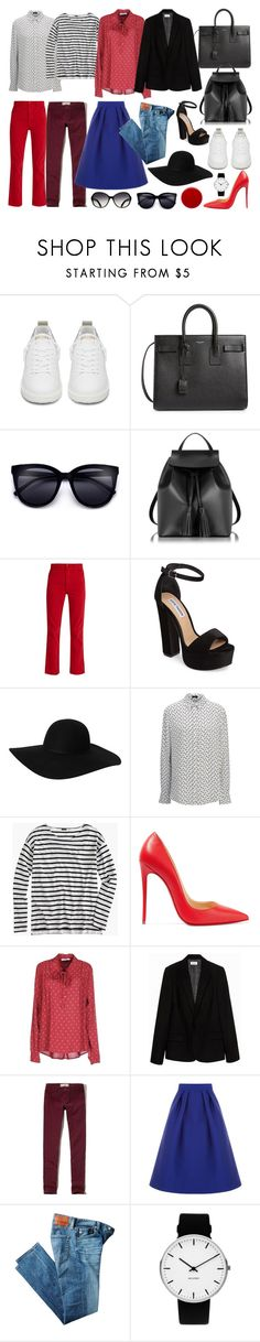 """""""Capsule wardrobe"""" by yutsu ❤ liked on Polyvore featuring Golden Goose, Yves Saint Laurent, Le Parmentier, Bliss and Mischief, Steve Madden, Monki, Joseph, J.Crew, Christian Louboutin and LIU•JO"""