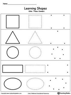 Learning Basic Shapes: Color, Trace, and Connect Learn the basic shapes by coloring, tracing, connecting the dots and finally drawing each shape with My Teaching Station printable Learning Basic Shapes worksheet. Pre K Worksheets, Shapes Worksheets, Printable Worksheets, Printable Shapes, Shape Worksheets For Preschool, Preschool Shapes, Toddler Worksheets, Worksheets For Preschoolers, Nursery Worksheets