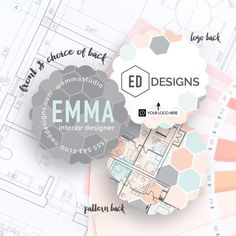 Emma's design reflects her interior design business by showing off her on trend tile pattern on the front and back with a preview of a floor plan on the back. This card is perfect for a wide variety of businesses, bloggers and designers. Customize this design and make a fashionable first impression.