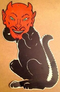 Vintage Halloween Cat With Devil Mask Die Cut Decoration