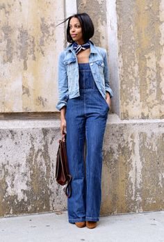 Beat the heat with this roundup of stylish work wear inspiration for summer   'Girls off Fifth' blogger in denim jacket and jumpsuit, and scarf