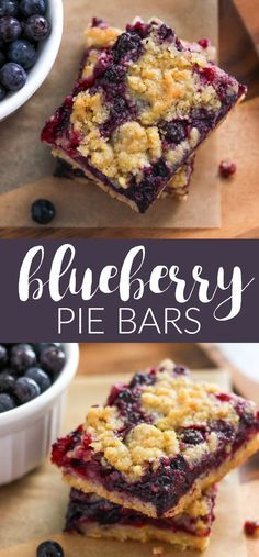 Blueberry Pie Bars are an easy to make dessert recipe made with a fresh blueberry filling and crumb topping. They are the perfect summer treat! Yummy Treats, Delicious Desserts, Sweet Treats, Dessert Recipes, Yummy Food, Pie Recipes, Easy Recipes, Cooking Recipes, Blueberry Pie Bars