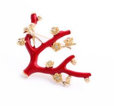 """Red coral brooch with delicate flowers with clear crystal centers and adorable hugging birds in shiny gold metal. Pin this for a lovely contrast with a touch of red, show the love! - 2.15"""" long x 1.5"""""""