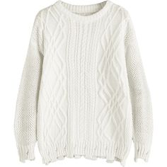 Cable Knit Drop Shoulder Plain Sweater White ($25) ❤ liked on Polyvore featuring tops, sweaters, zaful, chunky cable sweater, cable knit sweater, drop-shoulder tops, white top and cable sweaters