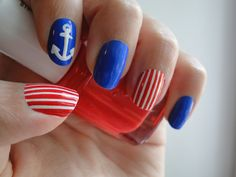 of July Nail Art Design Ideas - 4 UR Break- provides some information about interesting trends. Red Nail Designs, Best Nail Art Designs, Perfect Nails, Gorgeous Nails, Red Nails, Hair And Nails, Sephora, Nailart, Nautical Nails