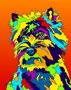 Multi-Color Cairn Terrier Matted Prints & Canvas Giclées. Hand painted and…