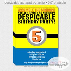 Despicable Me Inspired Birthday Invitation - 5x7 PRINTABLE