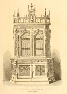 #Gothic style design for a cabinet from 'Dessins de mobilier tirés de catalogues de meubles' de 1871
