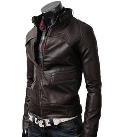 Strap Slim Dark Leather Jacket Brown For Men for sale at Affordable Price $109.00 only,with Guaranteed Quality.Free Shipping UK,USA and Canada Buy Now! #Jacket #LeatherJacket #SlimFitJacket #FittedLeatherJacket #MenFashion #MotorcycleJacket #DarkBrown