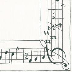 Caspari Sonata Black Triple Ply Paper Napkins Boxed Set of 40