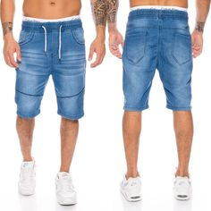 Herren Bermuda Shorts Jogg Jeans Shorts kurze Hose Bermuda Sweathose Blau  H-108 6c00375dc2