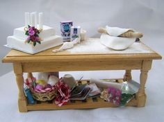 DOLLS HOUSE MINIATURES - WEDDING CAKE PREP TABLE