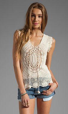 Lisa Maree First in Line Crochet Top en Crema   REVOLVE