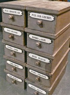 Chemists boxes, labeled