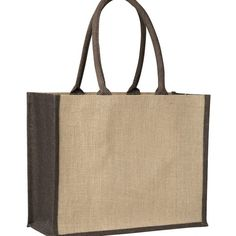 LAMINATED JUTE SUPERMARKET BAG WITH BROWN HANDLES AND GUSSETS – TB 0137 LJ (CONTRAST BROWN)  Price includes 1 color, 1 position print   2 Color imprint available for an additional charge