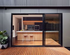 Blackburn House by ArchiBlox - Residential Architecture & Design - VIC House Cladding, Exterior Cladding, Facade House, Exterior Doors With Glass, Sliding Glass Door, Glass Doors, Residential Architecture, Architecture Design, Australian Architecture