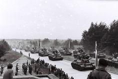 Polish T-55 tanks on parade