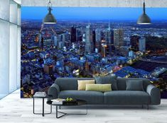 Skyline Photo Wallpaper MURAL Melbourne View from Sky