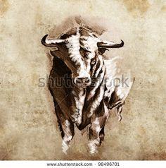 face painting diy bull skull   Sketch of tattoo art, spanish bull, dangerous bull with beaked horns ...