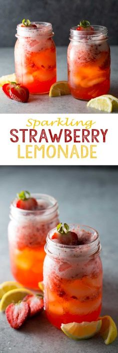 Sparkling Strawberry Lemonade is easy and refreshing on a hot summer day! Summer Treats, Summer Fruit, Summer Drinks, Fruit Recipes, Summer Recipes, Top Recipes, Amazing Recipes, Drink Recipes, Recipies
