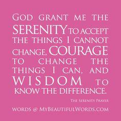 The beautiful Serenity Prayer
