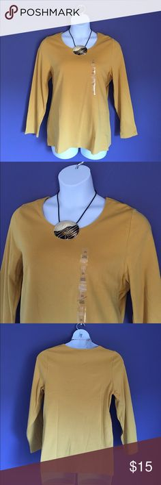 "🎉New Listing🎉 🆕 Karen Scott Mustard Top This comfortable top is perfect for any occasion. Add a nice necklace to dress it up. Pair with jeans for a great weekend outfit.  **Necklace also for sale in my closet.**. Material  - 100% Cotton. Measurements:  1X = Length - 28""/Bust - 23"".  2X = Length - 23""/Bust - 24"". 3X = Length - 23.5""/Bust - 25"" Karen Scott Tops"